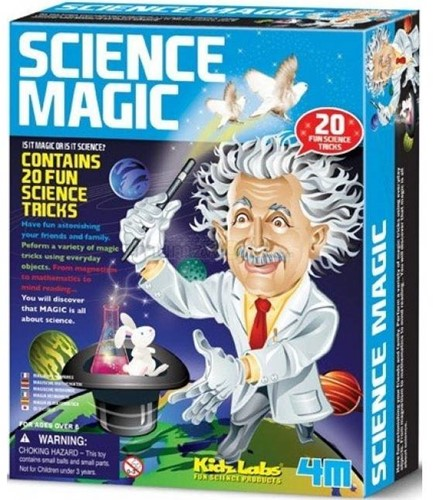 4MKidzLabsSCIENCE:MAGICSCIENCE,bevatattributenengedetailleerde instructiesom12wetenschappelijkegoocheltrucsoptevoeren,doos17x22x6cm, 8+