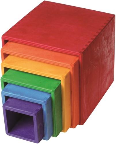 Grimm's Boîtes d'empilage en bois coloré