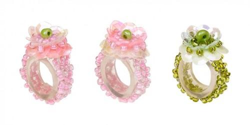 Souza Ring Floranne, roze-roze-groen, volledig elastisch (1 stuk)