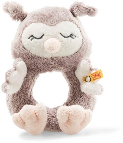 Steiff Soft Cuddly Friends chouette Olllie anneau de préhension avec crécelle