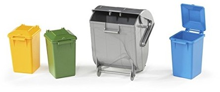 Bruder Accessories: Garbage can set (3 small. 1 large)