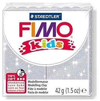 Fimo kids boetseerklei 42g glitter zilver