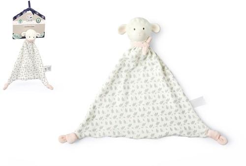 Tikiri Lila & Lucas: Lammetje LILA - KNUFFELDOEKJE met hoofdje in natuurlijk rubber 28cm, roze, op kaart, 0+