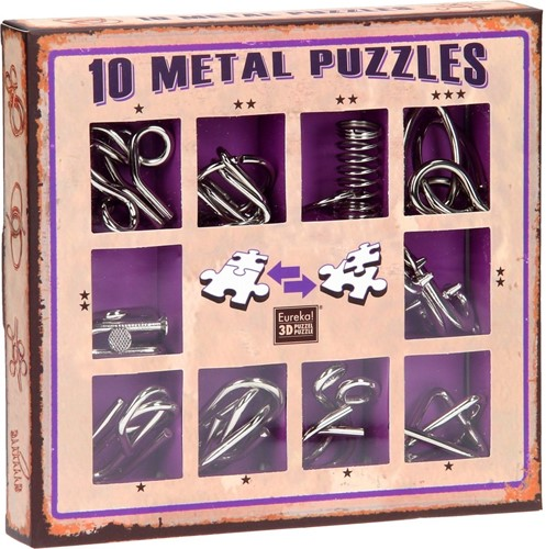 Eureka puzzel 10 Metal Puzzles Set Purple
