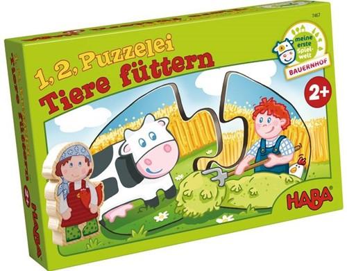 HABA Puzzle - 1, 2 puzzle-moi - Nourrir les animaux