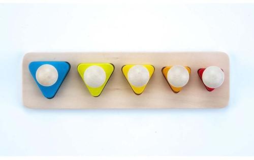Engelhart educatief Sorteerplank driehoek vormen multiplex/rubberhout - brede pin
