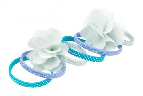 Souza Haar elastiek Pammy, print+uni+bloem, blauw+mint (6 stuks/kaartje, 6 kaartjes)