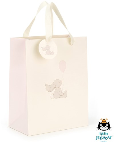 Jellycat Bashful Lapin Rose Sac Cadeau - 22cm
