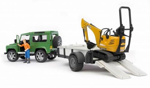 BRUDER Land Rover Defender with trailer, CAT and man véhicule pour enfants