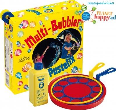 PustefixBellenblaasring:MULTI-BUBBLER,met2groteringen+Bord+250ml Pustefix,gemengdekleuren,indoos,5+