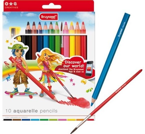 Bruynzeel Sakura 3550K10B crayon de couleur 10 pièce(s) Noir, Bleu, Marron, Vert, Orange, Rouge, Jaune